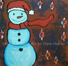 Acrylic painting wooden panel snowman decor by WhimsicalOOAKArt