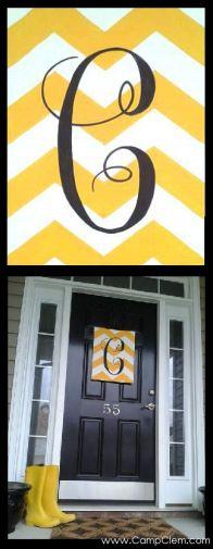 yellow chevron monogram easy DIY free tutorial for spring porch! via @CampClem