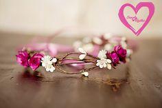 Rustic Pinks or Deep Fuschia pip berry Head Halo for Newborns Pretty w Rustic Flowers Berries Newborn Headwreath Baby Head Halo Head Wreath
