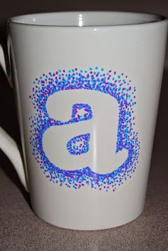 DIY Christmas Series: Dotted Sharpie Mugs. Use your Silhouette and some scrap vinyl to cut out your initial, grab your sharpie and get to dotting!