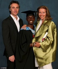 Emma Thompson & hubby Greg Wise with their adopted son Tindyebwa Agaba who graduated in politics from Exeter Uni. Greg Wise, Jean Luc Godard, Harry Potter Actors, Emma Thompson, Family Affair, Meryl Streep, Celebs, Celebrities, Hermione