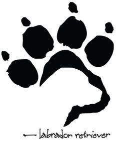 Dog silhouette with paw