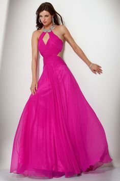 A-line Jewel Fuchsia Crystal Ruched Chiffon Floor-length Dress at Dresseshop