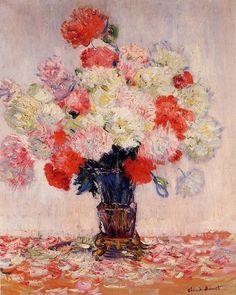 """""""Vase de Pivoines"""" Huile sur toile de Claude Monet 1882"""