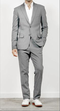 Mens light grey linen suit