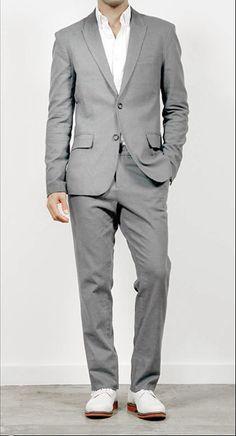 Mens light grey linen suit