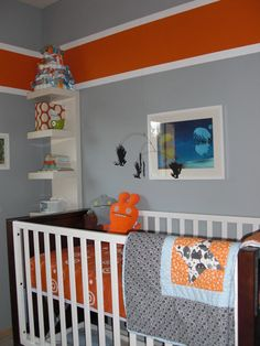 gray walls orange stripe with white outline
