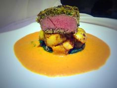 Spice Crusted Lamb Loin, Indian Potatoes and a Moilee-Tomato Sauce. Lamb Recipes, Wine Recipes, Indian Food Recipes, Gourmet Recipes, Cooking Recipes, Potato Recipes, Lamb Dishes, Beef Dishes, Posh Nosh