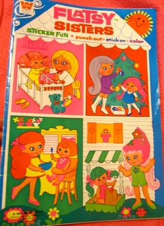 Vintage Flatsy Sisters doll sticker fun coloring book paperback 1970 by Whitman activity children book on Etsy, $5.50