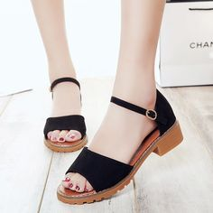 14.20$  Buy now - http://aliefc.shopchina.info/go.php?t=32802366653 - Woman Sandals High Heels Low Heel Sandals Women Shoes Summer Sandals Black Gray White School Girls High Quality Shoes  #aliexpressideas