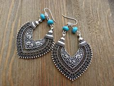 Boho hearts. Turquoise stone and sterling silver chandelier metal earrings. - Andria Bieber Designs, Earrings - Jewelry, McKee Jewelry Designs - Andria Bieber Designs #SterlingSilverBoho