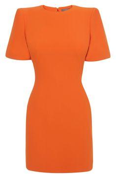Alexander McQueen - Orange Cape Shoulder Mini-Dress