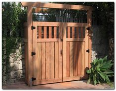 Contemporary Landscape/Yard with exterior brick floors, Fence, Gate Wood Fence Gate Designs, Wood Fence Gates, Garden Gates And Fencing, Fence Design, Fence Garden, Brick Fence, Wooden Fences, Wooden Gate Door, Arbor Gate