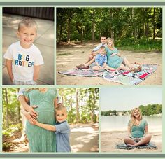 Summer maternity photo shoot with big brother / older sibling