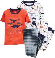Amazon.com: Carter's Little Boys' 4 Piece Slogan Tee PJ Set (Toddler/Kid): Clothing