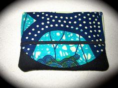 Etui passeport wax turquoise et bleu (envoi 0€) : Etuis, mini sacs par cewax