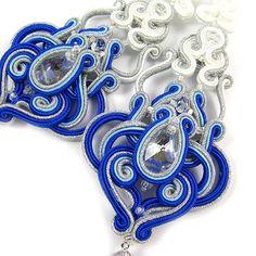 Chandelier long soutache earrings bridal wedding by byPiLLowDesign