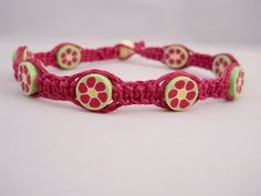 Dark Pink Hemp Flower Anklet by PeaceLoveNKnottyHemp on Etsy, $13.00