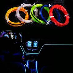 #beler Car Strip Light 2m EL-Wire Flexible 12V  Interior Cold Light Line Decor Fluorescent Neon Strip For VW BMW Toyota Hyundai