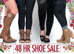 HUGE SHOE SALE!  Shop all the shoes you NEED for fall... at prices you will LOVE! Don't wait... this sale ends 11/14/17 at Midnight EST!  Click to shop SALE now: https://marleylilly.com/category/shoes/ #Fashion #Jewelry #Shopping #Deals #Love #Beauty#Art #Necklace #Pendant #learning #educational #games #toys #toddler#Christmas#Women#Men