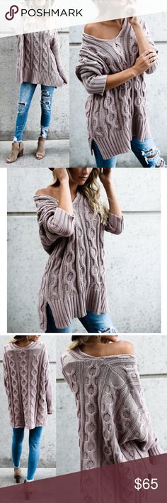 TRENTON Knit Sweater - MUAVE A MUST HAVE for any sweater lover!  100% cotton, v-neck sweater.  NO TRADE  PRICE FIRM Sweaters V-Necks