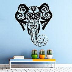 Wall Decals Indian Elephant Floral Pattern Vinyl Sticker Wall Decor Murals Wall Decal Om Symbol Yoga Decals: Amazon.co.uk: Kitchen & Home
