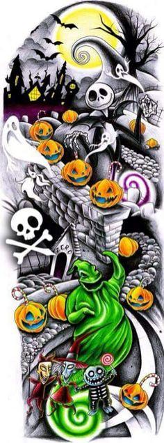 Nightmare before christmas tattoo sleeve design. I love the nightmare before Christmas Jack Skellington, Halloween Tattoo, Halloween Art, Full Sleeve Tattoos, Tattoo Sleeve Designs, Tattoo Sleeves, Disney Tattoos, The Nightmare Before Christmas, Tattoo Ideas