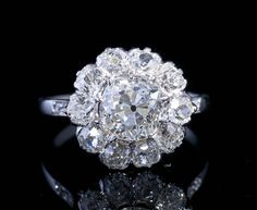 Old Diamond Daisy Ring, French, 1910-1920, 15 mm, 5 g