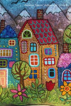 KimzSewing: Round the Garden with Wendy Williams Wool Applique Quilts, Wool Applique Patterns, Wool Embroidery, Felt Applique, Quilt Patterns, Fabric Art, Fabric Crafts, Art Populaire, Fabric Journals