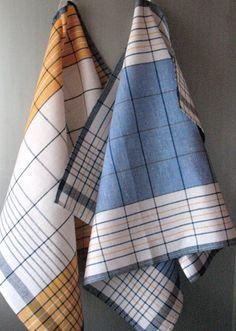 Linen Cotton Dish Towels Yellow Blue White Tea by Coloredworld, $15.90