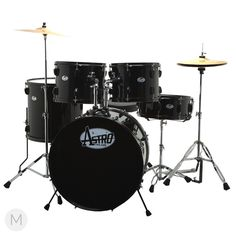 Astro 5-Piece Black Finish Drum Set by Taya Drums