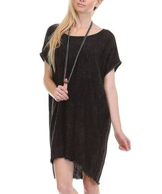 Look at this Mono B Black Raw-Hem Linen-Blend Shift Dress on #zulily today!