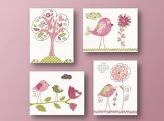Baby Girl nursery Decor Birds Nursery art baby nursery wall art kids wall art childrens room decor flower tree Pink green - Set of 4 prints    Blue and gray Nursery art print baby nursery decor Kids art elephant heart love bird First we had each other Set of three 8x10 prints    http://www.etsy.com/shop/GalerieAnais    This set of four prints is a reproduction of my original handmade artwork. Printed on flat heavyweight matte photo paper.  It can be customized by adding a childs name or the…