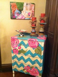 chevron painted chest with flowers