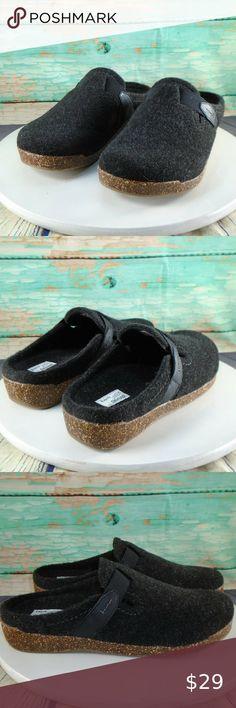 Earth Grey Felt Jenna Strap Detail Slip-on Mule Clogs Shoe 9 Sale