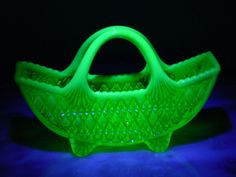 Prince William Davidson 1893 Opalescent Basket under UV Light Electric Insulators, Depression Treatment Centers, Vaseline Glass, Opaline, Glass Collection, Household Items, Ultra Violet, Glass Art, Prince William