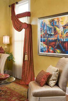Kenosha Interior Decorator Idea for long window coverings Window Drapes, Window Coverings, Drapes Curtains, Valances, Modern Curtains, Custom Drapes, Custom Window Treatments, Interior Decorating, Interior Design