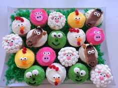 """Farm animal cupcakes for my nephew's """"little blue truck"""" first birthday party."""