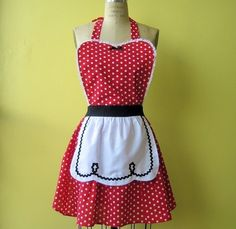 retro apron I LOVE LUCY  fifties red polka by loverdoversclothing, $32.00