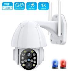 HD 1080P Dual-Lens PTZ Wifi Camera Outdoor Auto Tracking Price: 57.55 & FREE Shipping #allgadgetdealz Security Surveillance, Security Camera, Ptz Camera, Dome Camera, Mac Os, Hd 1080p, Sd Card, Consumer Electronics, Wifi