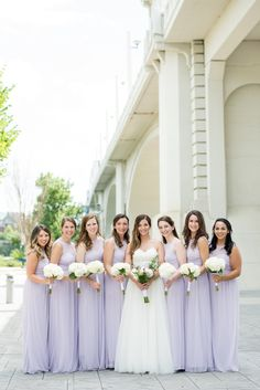 Matching Lavendar bridesmaids dresses with white bouquets. Lilac Wedding Colors, Lavender Wedding Theme, Purple Wedding, Dream Wedding, Lavender Bridesmaid Dresses, Wedding Bridesmaid Dresses, Brides And Bridesmaids, Bridesmaid Poses, How To Dress For A Wedding