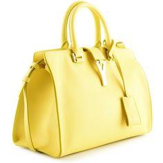 Saint Laurent Yellow Bag Mini Chyc ($2,070) ❤ liked on Polyvore