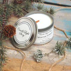 Käsin soijavahasta tehty vegaaninen kynttilä metallipurkissa. Talvisen havumetsän tuoksu lämpimällä sydämellä. Tunnelmallisesti rätisevä puusydän. Ihana joululahja äidille tai ystävälle! Candle Jars, Candles, Winter Walk, Christmas Inspiration, Vintage Christmas, Blessed, Interiors, Autumn, Mood