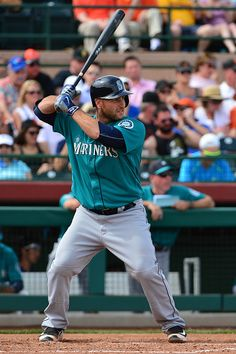 Chris Iannetta of the Seattle Mariners at in the spring training game against the San Francisco Giants at Scottsdale Stadium on March 11 2016 in...