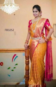 Dashing Yellow Colored Soft Silk Saree with Matching Color silk Blouse. It contained of Printed. The Blouse which can be customized up to bust size This Unstitch Saree Length mtr including mtr Blouse. Bridal Sarees South Indian, Wedding Silk Saree, South Indian Bride, Pattu Saree Blouse Designs, Bridal Blouse Designs, Saris, Pattu Sarees Wedding, Silk Saree Kanchipuram, Wedding Saree Collection