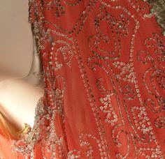 1920's Coral Silk Beaded Flapper Dress &  Velvet Cape - Great Size
