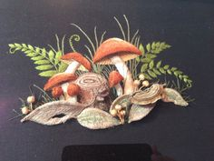 Stumpwork mushrooms from embellish embroidery