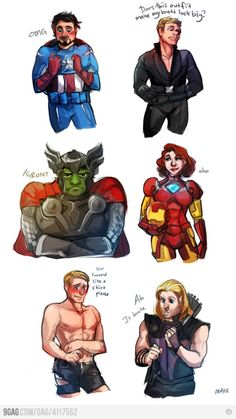 Avengers costume swap! I just don't get why tony is so happy?