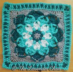 Kaleidoscope Lily Mandala Square Crochet Squares Afghan, Crochet Blocks, Afghan Crochet Patterns, Granny Squares, Crochet Afghans, Crochet Blankets, Knitting Patterns, Granny Square Pattern Free, Granny Square Crochet Pattern