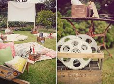 """backyard movie night - I *love* this idea! my favorite photo was of the sign that read, """"take a sheet & grab a seat"""". how fun would it be to have a monthly outdoor family movie night out here at the camp? Backyard Movie Party, Outdoor Movie Party, Backyard Movie Nights, Outdoor Movie Nights, Movie Night Party, Party Time, Backyard Parties, Kino Party, Adult Birthday Party"""